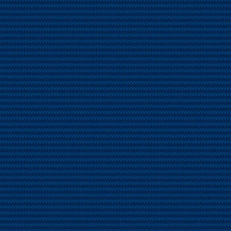 Abstract Striped Knitted Sweater Pattern. Vector Seamless Background with Shades of Blue Colors. Wool Knit Texture Imitation.