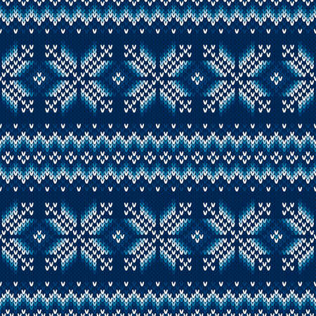 Traditional Fair Isle Style Seamless Knitted Pattern. Christmas and New Year Design Background. Knitting Sweater Design.
