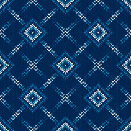 Abstract Seamless Knitting Pattern. Argyle Sweater Design. Wool Knit Texture Imitation.