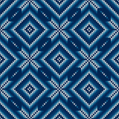 Argyle Seamless Knitting Pattern. Abstract Sweater Design. Wool Knit Texture Imitation. Illustration