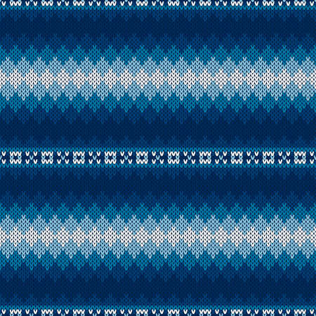 Fair Isle Style Sweater Knitted Pattern. Vector Seamless Knit Texture Imitation with Shades of Blue Colors.