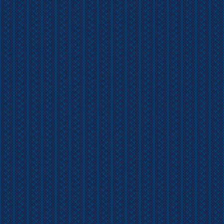 Abstract Striped Knitted Pattern. Vector Seamless Knit Texture with Shades of Blue Colors.