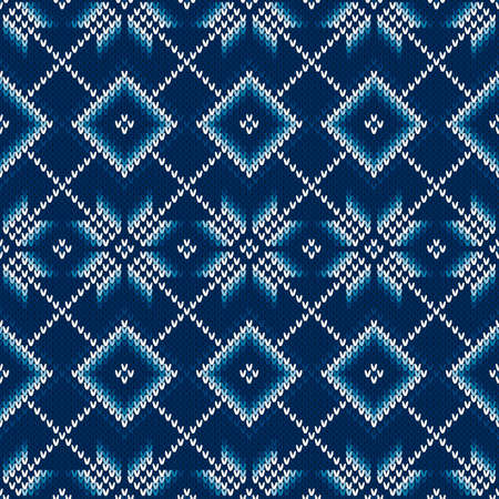 Argyle Sweater Knitted Pattern with Snowflakes. Seamless Knit Texture with Shades of Blue Colors.