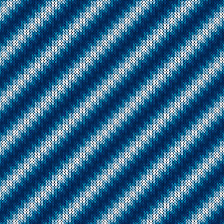 Abstract Sweater Knitted Pattern. Seamless Knit Texture with Shades of Blue Colors.