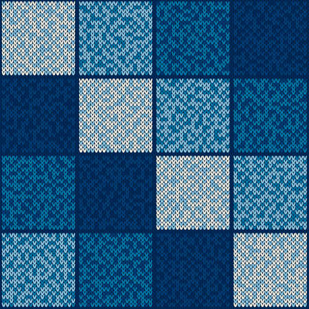 Abstract Checkered Knitted Sweater Pattern. Vector Seamless Background with Shades of Blue Colors. Wool Knit Texture Imitation. 矢量图像