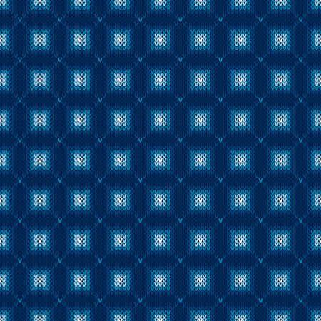 Abstract Checkered Knitted Sweater Pattern. Vector Seamless Background with Shades of Blue Colors. Wool Knit Texture Imitation Illustration