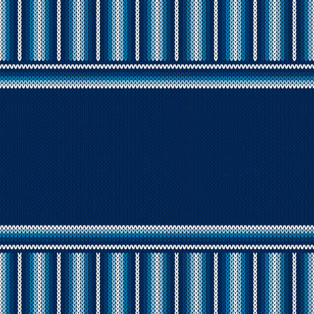Striped Knitted Background with a Place for Text. Wool Knit Sweater Texture Imitation with Shades of Blue Colors.