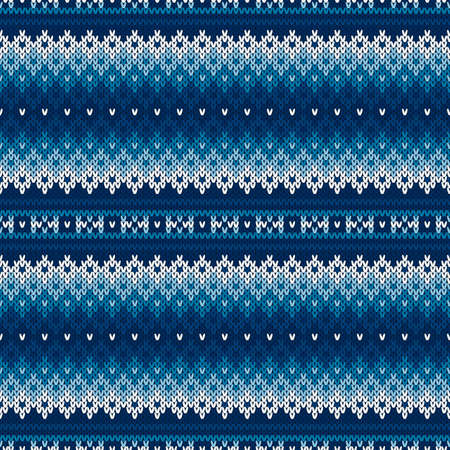 Fair Isle Style Sweater Knitted Pattern. Wool Knit Melange Texture Imitation with Shades of Blue Colors.
