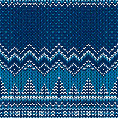 Winter Holiday Knitted Sweater Pattern with Christmas Trees. Wool Knit Seamless Melange Texture Imitation with Shades of Blue Colors.