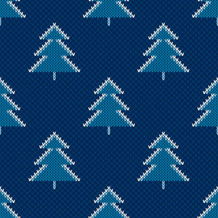 Winter Holiday Seamless Knitted Pattern with Christmas Trees. Wool Knit Sweater Melange Texture Imitation with Shades of Blue Colors.