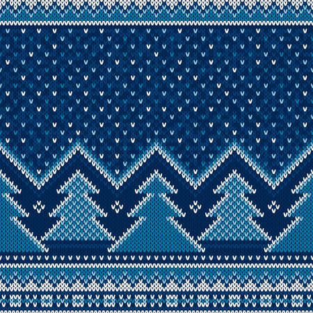 Winter Holiday Seamless Knitted Pattern with Christmas Trees. Scheme for Sweater Pattern Design or Cross Stitch Embroidery. Wool Knit Texture Imitation.