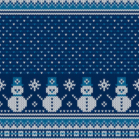 Winter Holiday Seamless Knitted Pattern with a Snowman and Snowflakes. Christmas and New Year Design Background. Wool Knit Sweater Design. Ilustrace