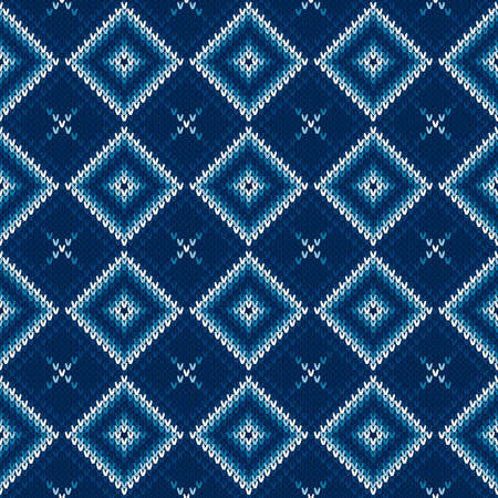 Abstract Argyle Knitted Sweater Pattern. Vector Seamless Background with Shades of Blue Colors. Wool Knit Texture Imitation. Ilustrace