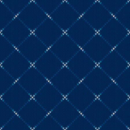Abstract Checkered Knitted Sweater Pattern. Vector Seamless Background with Shades of Blue Colors. Wool Knit Texture Imitation. Ilustração