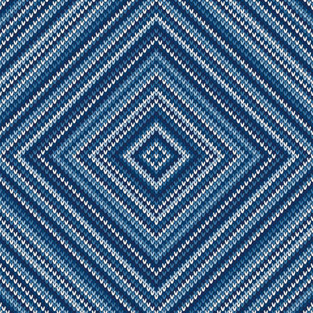 Abstract Knitted Sweater Pattern. Vector Seamless Background with Shades of Blue Colors. Wool Knit Texture Imitation. Ilustrace