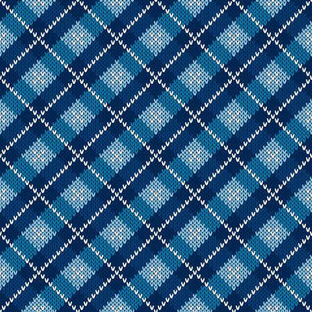 Argyle Checkered Knitted Sweater Pattern Design. Vector Seamless Background with Shades of Blue Colors. Wool Knit Texture Imitation. 矢量图像