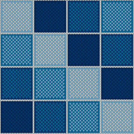 Abstract Checkered Knitted Sweater Pattern. Vector Seamless Background with Shades of Blue Colors. Wool Knit Texture Imitation. Ilustrace