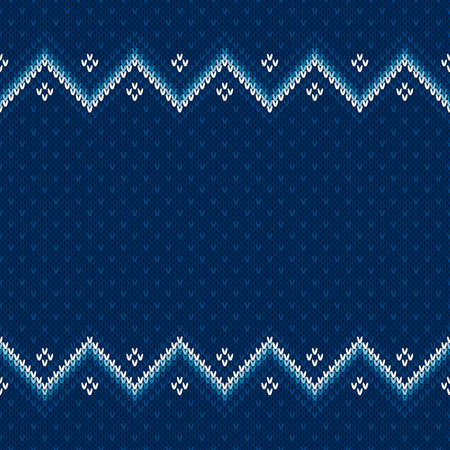 Winter Holiday Knitted Background with a Place for Text. Wool Knit Sweater Texture Imitation with Shades of Blue Colors.