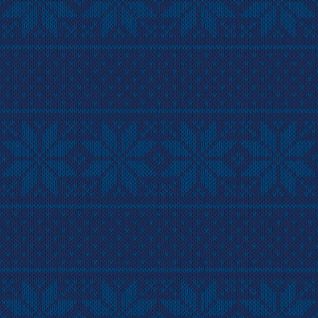 Winter Holiday Seamless Knitted Pattern with Snowflakes. Christmas and New Year Design Background. Knitting Sweater DesignÑŽ