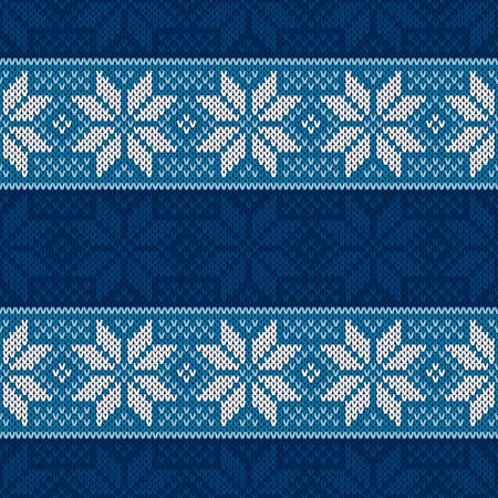 Winter Holiday Seamless Knitted Pattern with Snowflakes. Christmas and New Year Design Background. Knitting Sweater Design.