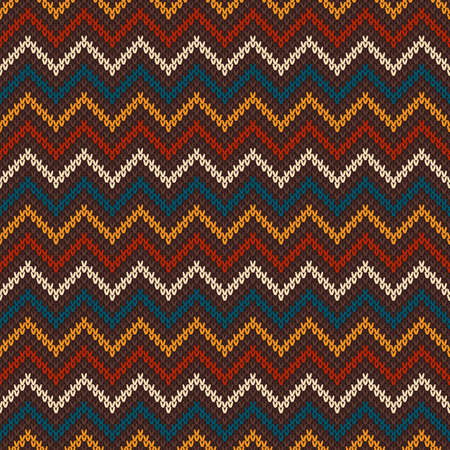 Chevron Abstract Knitted Sweater Pattern. Vector Seamless Background. Wool Knit Texture Imitation.