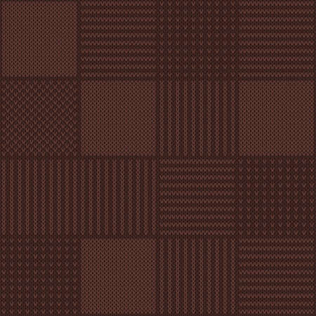 Abstract Checkered Knitted Sweater Pattern. Vector Seamless Background. Wool Knit Texture Imitation. Illustration