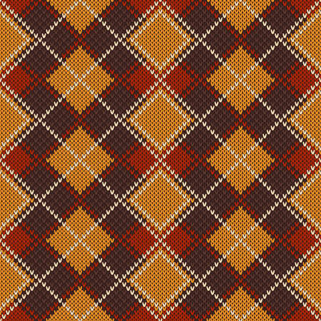 Abstract Argyle Knitted Sweater Pattern. Vector Seamless Background. Wool Knit Texture Imitation. Ilustrace