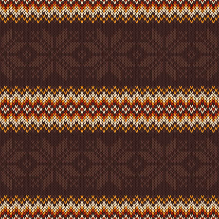 Traditional Knitted Sweater Pattern Design. Vector Seamless Background. Wool Knit Texture Imitation. Ilustrace