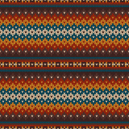 Traditional Sweater Knitted Pattern Design. Wool Knit Melange Texture Imitation. Ilustrace