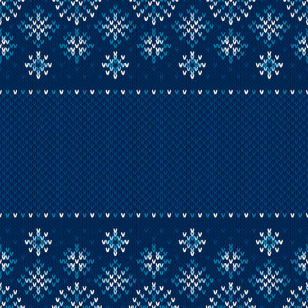 Winter Seamless Knitted Pattern with Snowflakes. Winter Design Background with a Place for Text. Knitting Sweater Design.