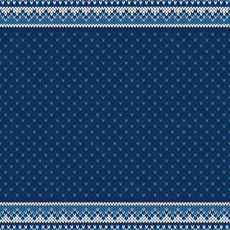 Winter Design Knitted Background with a Place for Text. Vector Seamless Background with Shades of Blue Colors. Wool Knit Texture Imitation.