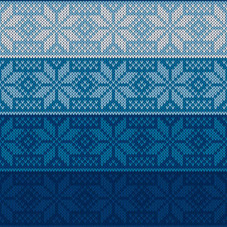 Winter Holiday Knitted Sweater Pattern with Snowflakes. Vector Seamless Background with Shades of Blue Colors. Wool Knit Texture Imitation.