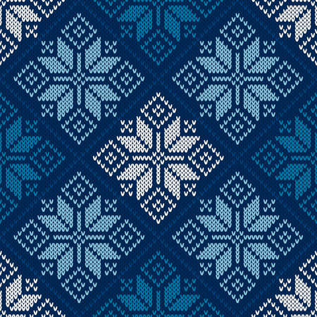 Winter Holiday Seamless Knitted Pattern with Snowflakes. Traditional Knitting Sweater Design. Ilustrace