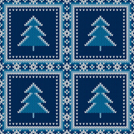 Winter Holiday Seamless Knit Pattern with Christmas Trees. Vector Seamless Background with Shades of Blue Colors. Wool Knit Texture Imitation.