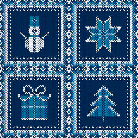 Winter Holiday Seamless Knitted Pattern with a Snowman, Snowflake, Present Box and Christmas Tree. Wool Knitting Sweater Design. Ilustrace