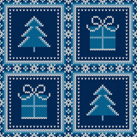 Winter Holiday Seamless Knitted Pattern with a Present Box and Christmas Tree. Wool Knitting Sweater Design.