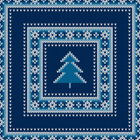 Winter Holiday Seamless Knitted Pattern with a Christmas Tree. Wool Knitting Sweater Design. Ilustrace