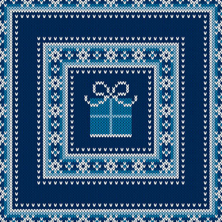 Winter Holiday Seamless Knitted Sweater Pattern Design with a Gift Box. Wool Knit Texture Imitation. Ilustrace