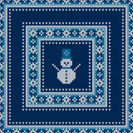 Winter Holiday Seamless Knitted Sweater Pattern Design with a Snowman. Wool Knit Texture Imitation.