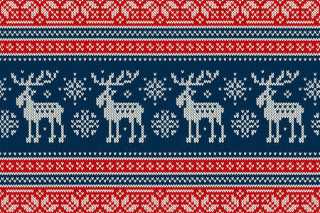 Christmas Knitting Pattern with Elks and Snowflakes. Scheme for Wool Knit Winter Holiday Sweater Seamless Pattern Design or Cross Stitch Embroidery. Illustration