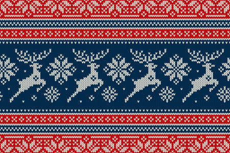 Christmas Knitting Pattern with Reindeers and Snowflakes. Scheme for Wool Knit Winter Holiday Sweater Seamless Pattern Design or Cross Stitch Embroidery. Векторная Иллюстрация
