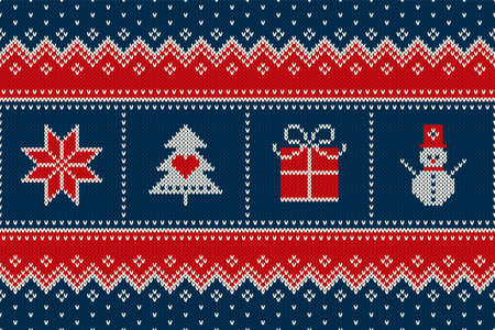 Winter Holiday Seamless Knitted Pattern with a Christmas Symbols: Snowflake, Christmas Tree, Present Box and Snowman. Wool Knitting Sweater Design.