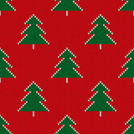 Christmas Knitted Pattern with Christmas Trees. Wool Knitting Seamless Sweater Design.