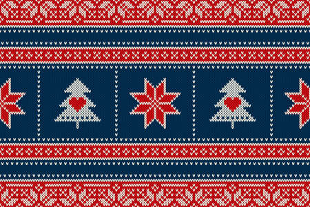 Christmas Holiday Seamless Knitted Pattern with Snowflakes and Christmas Trees. Scheme for Wool Knit Sweater Seamless Pattern Design or Cross Stitch Embroidery.