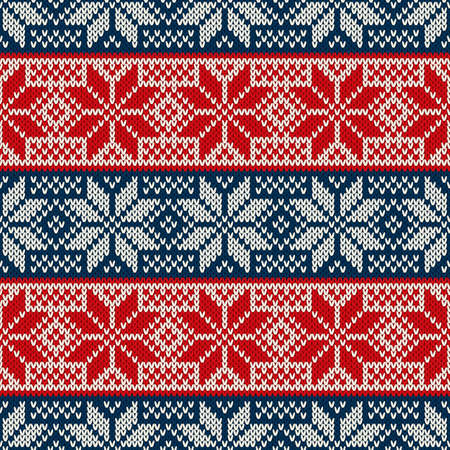 Traditional Christmas Knitted Pattern with Snowflakes. Wool Knitting Seamless Sweater Design.