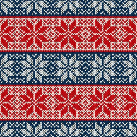 Tradycyjny świąteczny wzór z dzianiny z płatkami śniegu. Wełniany sweter bez szwu z dzianiny.