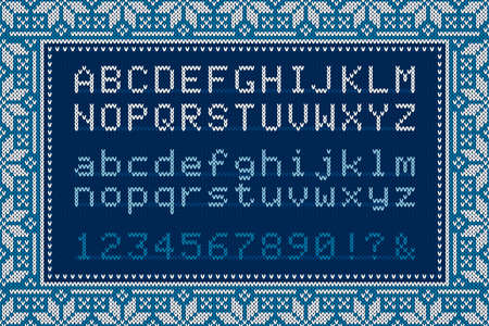Christmas Knitted Font. Latin Alphabet Letters and Numbers on Knit Background.