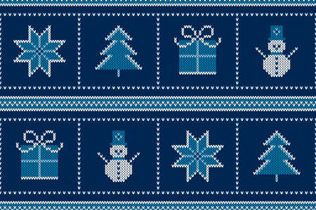 Winter Holiday Seamless Knitted Pattern with a Snowman, Snowflake, Present Box and Christmas Tree. Wool Knitting Sweater Design. Illustration