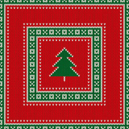 Christmas Holiday Knitted Sweater Pattern Design with Christmas Tree. Vector Seamless Wool Knit Texture Imitation