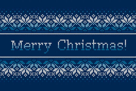 Christmas Holiday Knitted Pattern with Snowflakes and Greeting Text Merry Christmas. Vector Seamless Background with Shades of Blue Colors. Wool Knit Texture Imitation